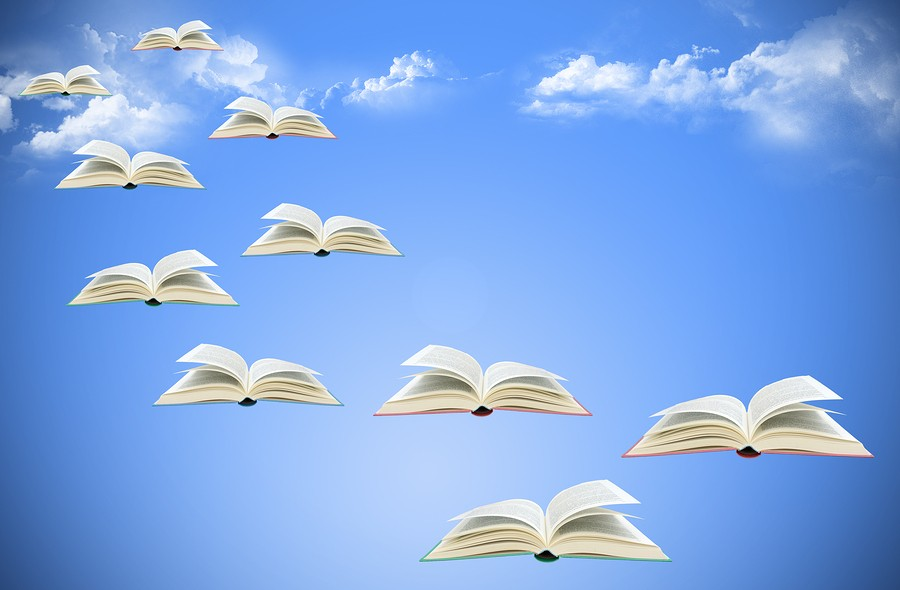 bigstock-Flying-Books-On-Sky-4912515